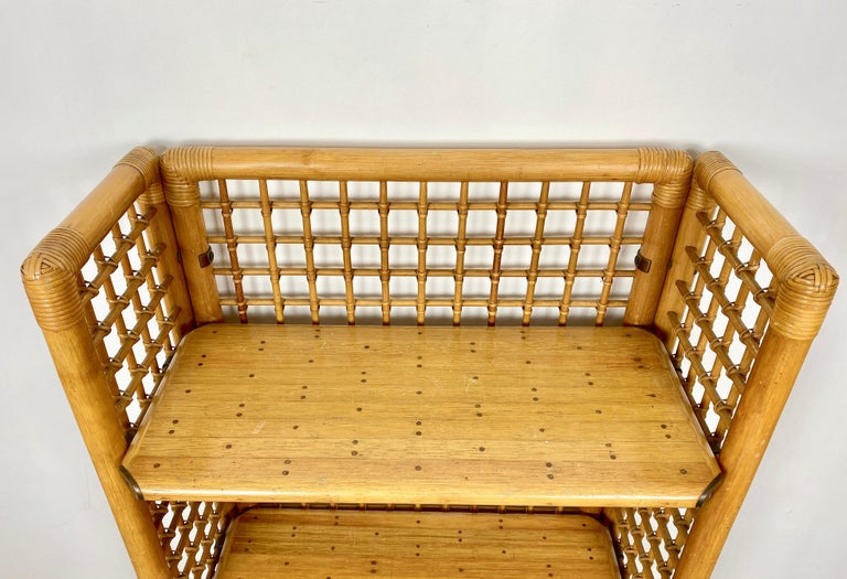 Rattan, Wood and Brass Etagere Bookcase Shelf, Italy, 1960s For Sale 1