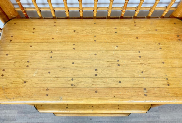 Rattan, Wood and Brass Etagere Bookcase Shelf, Italy, 1960s For Sale 2