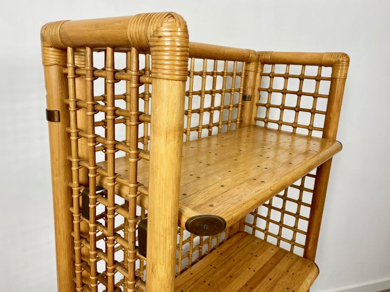 Rattan, Wood and Brass Etagere Bookcase Shelf, Italy, 1960s For Sale 3