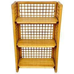 Rattan, Wood and Brass Etagere Bookcase Shelf, Italy, 1960s