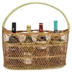 Rattan Woven Bottle Rack Stand Carrier Basket, France, 1960s