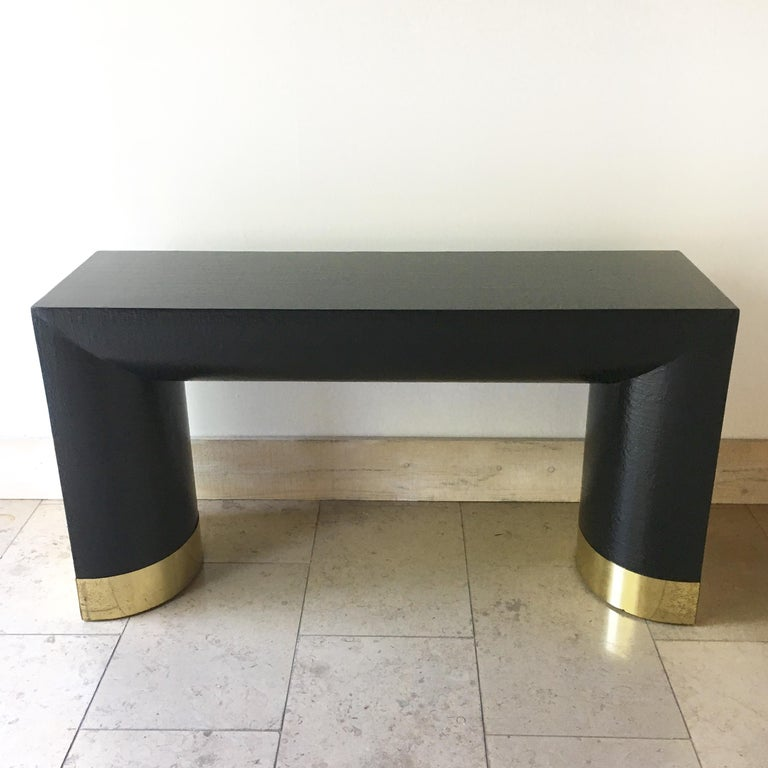 Mid-Century Modern Rattan Wrapped Karl Springer Style Console Table, 1970s For Sale