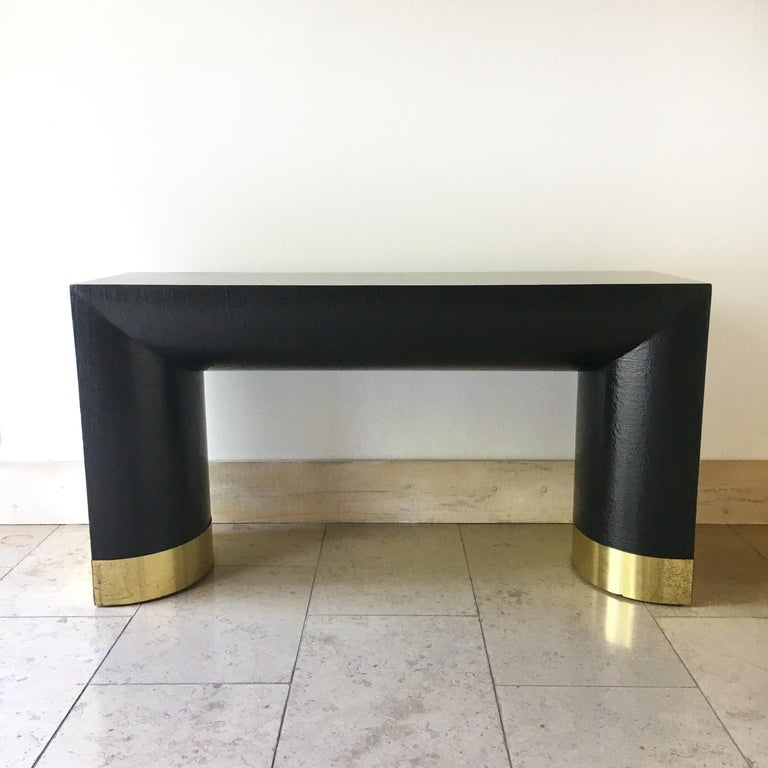 American Rattan Wrapped Karl Springer Style Console Table, 1970s For Sale