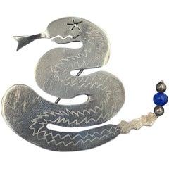 Rattlesnake Snake Brooch Pin Sterling Silver Lapis Lazuli Elaine Pike