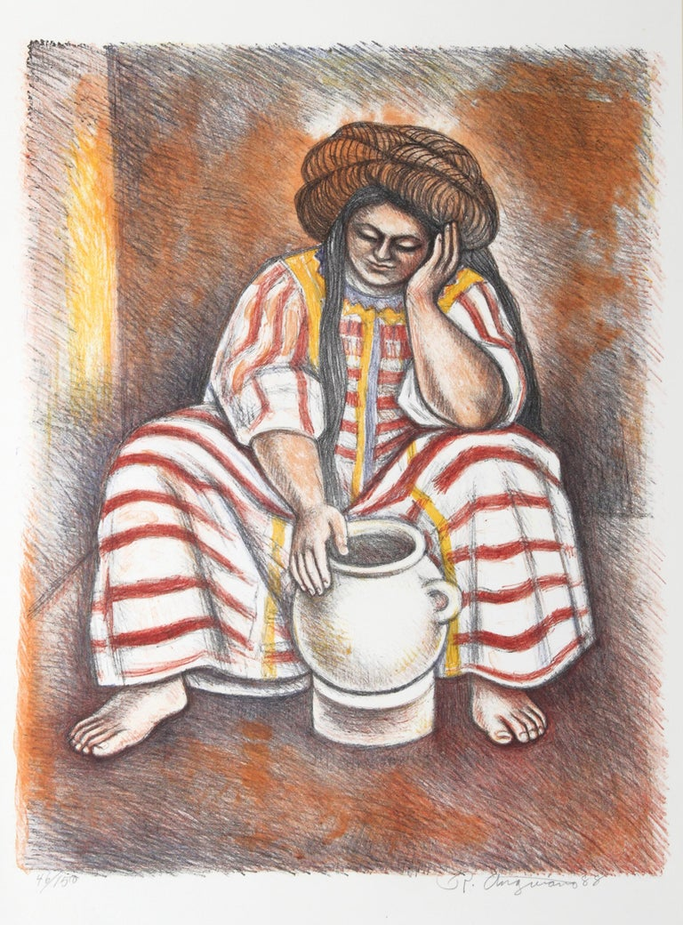 Artist: Raul Anguiano, Mexican (1915 - 2006) Title: Itayu Year: 1988 Medium: Lithograph, signed and numbered in pencil Edition: 150 Image Size: 26 x 20 inches Size: 30.5 x 22.5 in. (77.47 x 57.15 cm)