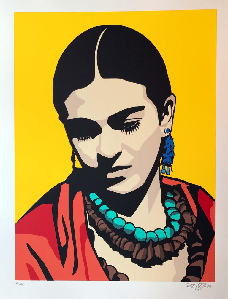 Raul Caracoza Portrait Print - Young Frida (yellow)