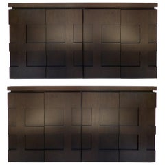 Raul Carrasco Ebonized Oak, Marble Top Block Front Cabinets, Pair