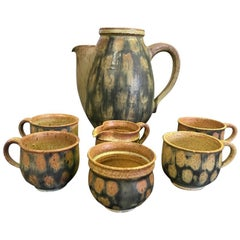 Raul Coronel Midcentury 7 Piece Signed Coffee Tea Ceramic Pottery Set, 1960s