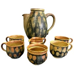 Raul Coronel Midcentury 7-Piece Signed Coffee Tea Ceramic Pottery Set, 1960s