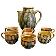 Raul Coronel Midcentury 7-Piece Signed Coffee Tea Ceramic Pottery Set, 1960s