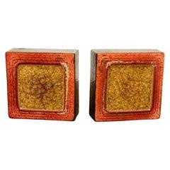 Raul Coronel Modernist Glazed Glass Ceramic Designed Bookends  1960s LA