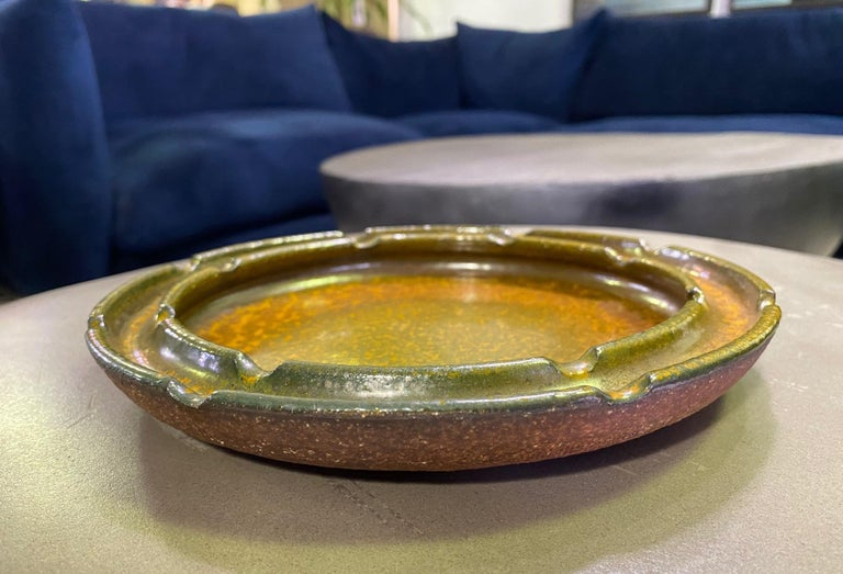 American Raul Coronel Signed Mid-Century Modern Ceramic Pottery Bowl Ashtray, 1960s For Sale