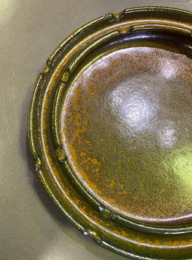 Raul Coronel Signed Mid-Century Modern Ceramic Pottery Bowl Ashtray, 1960s In Good Condition For Sale In Studio City, CA