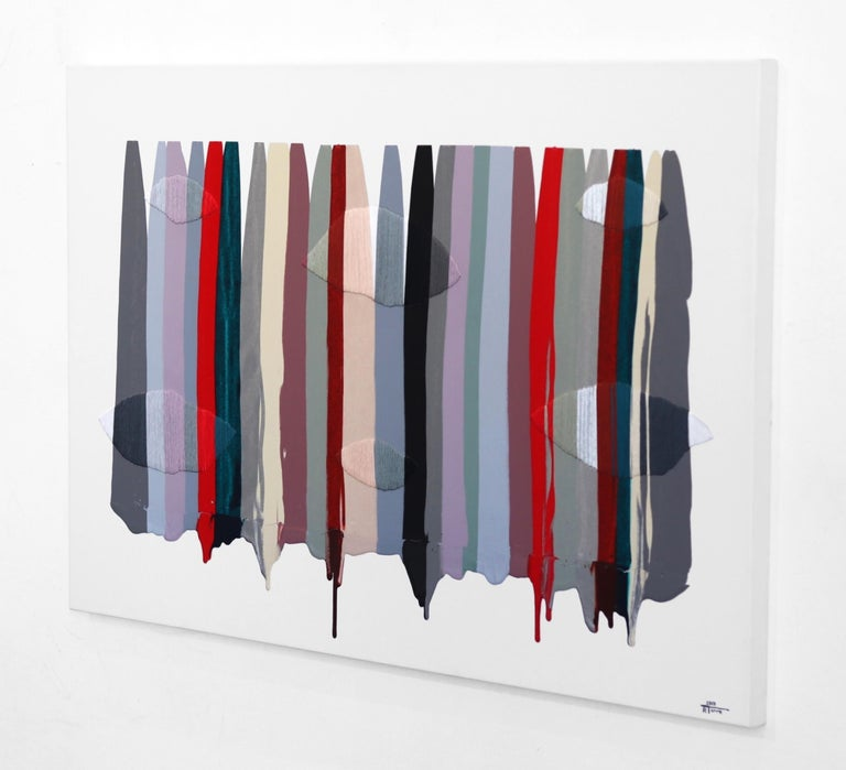 Fils I Colors CCXLVI - Gray Abstract Painting by Raul de la Torre