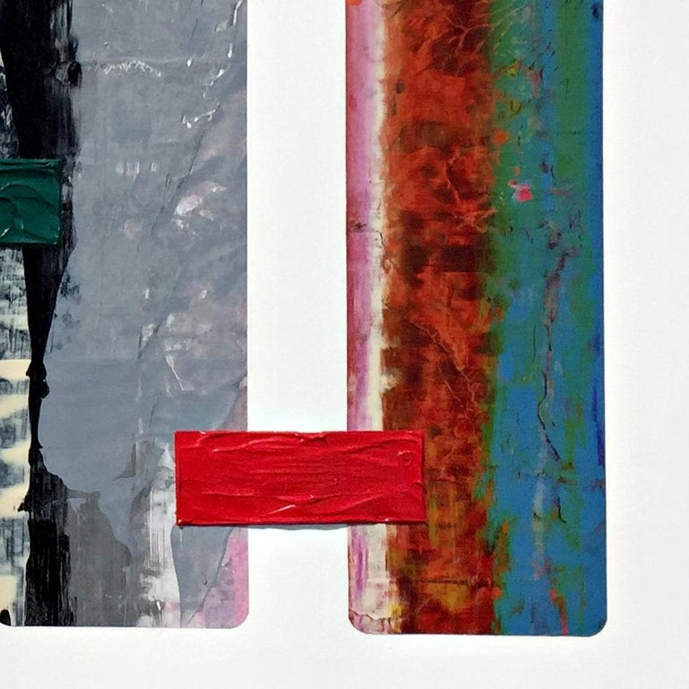 Experimentation with different materials, textures and techniques in each of his paintings has been a point of discovery and a major part of Raul de la Torre's artwork.  This multi-colored horizontal artwork is created with thickly layered acrylic