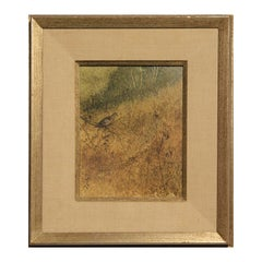 Naturalistic Earth Toned Rural Texas Landscape Oil Painting of a Bird