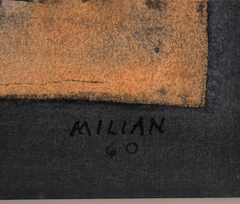 MIXED MEDIA PAINTED ON PAPER.  (18 INCHES BY 22 INCHES WITH A FRAME) SIGNED AND DATED 1960 AT THE BOTTOM. HAS A STAMP OF AUTHENTICATION FROM ACACIA GALLERY IN HAVANA Raúl Milián was born in 1914 in Havana, . He had no formal art training other than