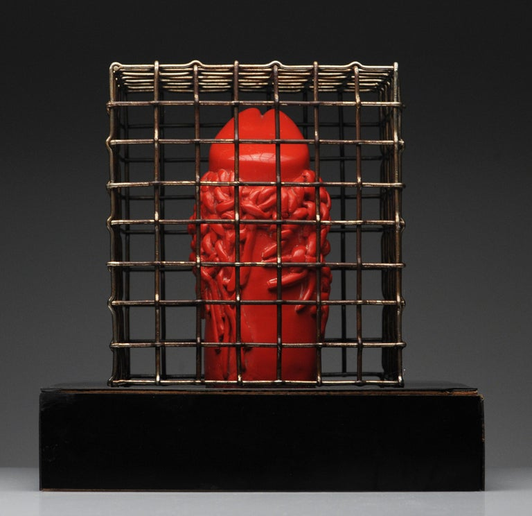 Raul Valdivieso Latin American Modern Red Ceramic Erotic Phallic Sculpture Art For Sale 3