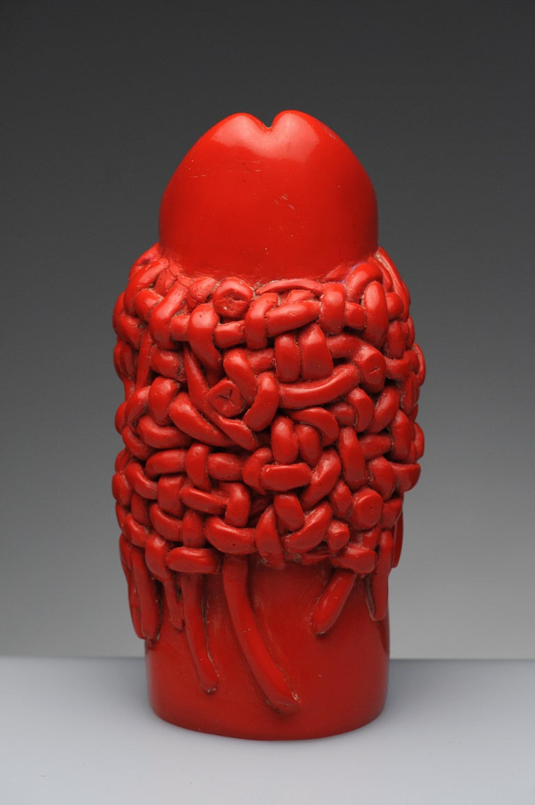 Organic Modern Raul Valdivieso Latin American Modern Red Ceramic Erotic Phallic Sculpture Art For Sale
