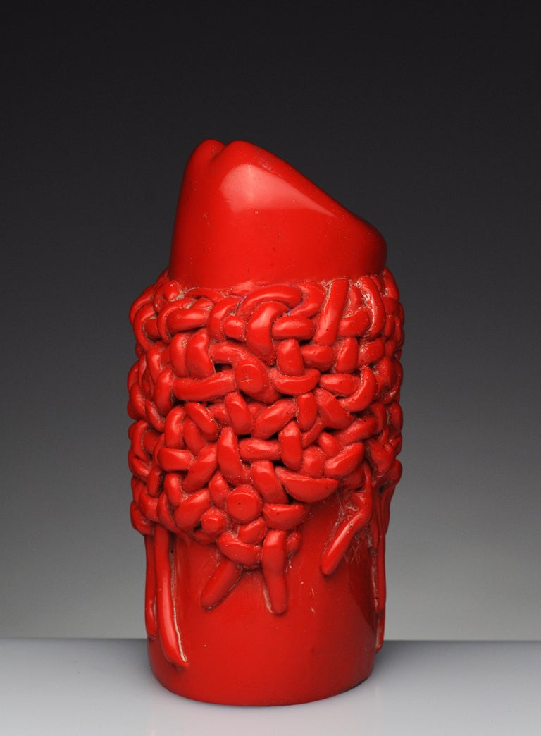 Raul Valdivieso Latin American Modern Red Ceramic Erotic Phallic Sculpture Art In Fair Condition For Sale In Washington, DC
