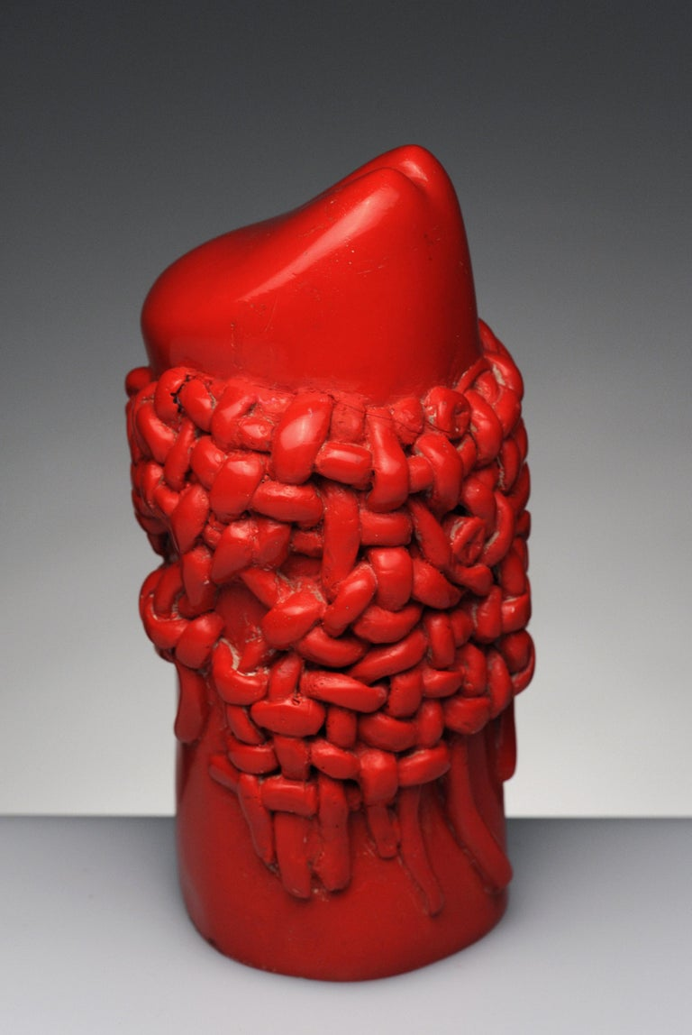 Mid-20th Century Raul Valdivieso Latin American Modern Red Ceramic Erotic Phallic Sculpture Art For Sale