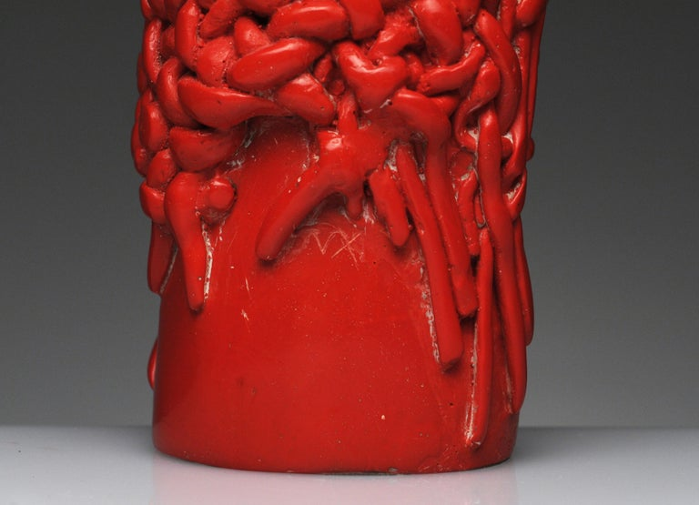 Raul Valdivieso Latin American Modern Red Ceramic Erotic Phallic Sculpture Art For Sale 2
