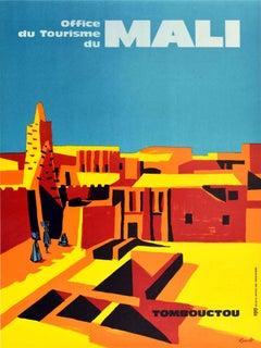Original Vintage Travel Poster Mali Tombouctou West Africa Tourism Timbuktu City