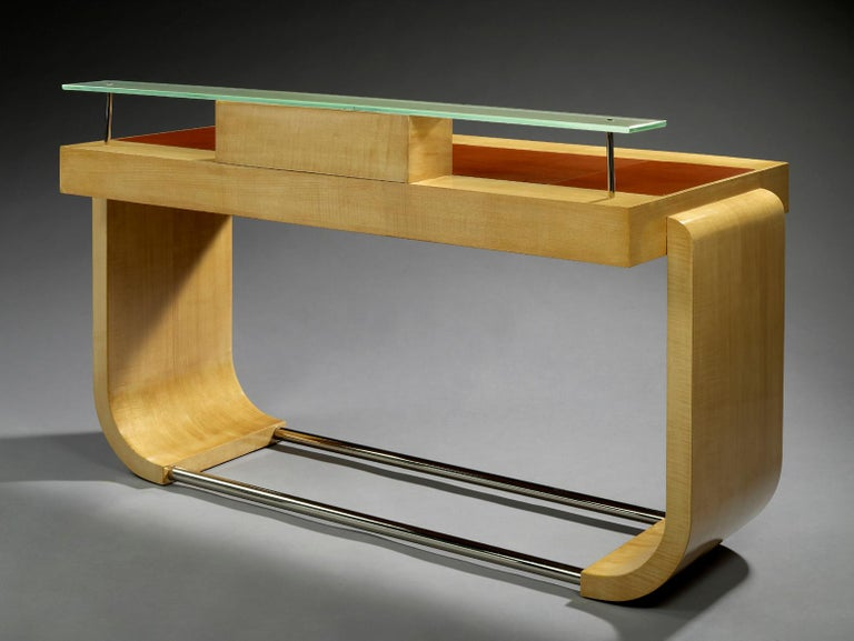 European Raval & Bertrand, Sycamore Lady's Desk, 1931 For Sale