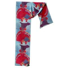 Raven and Cedar, art, scarf, wearable art, woman, bird, red, blue, purple