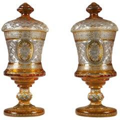 Ravishing Pair of Bohemian Crystal Sweetmeat Vases