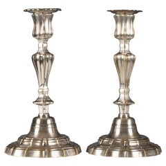Ravishing Pair of Silvered Bronze Candlesticks