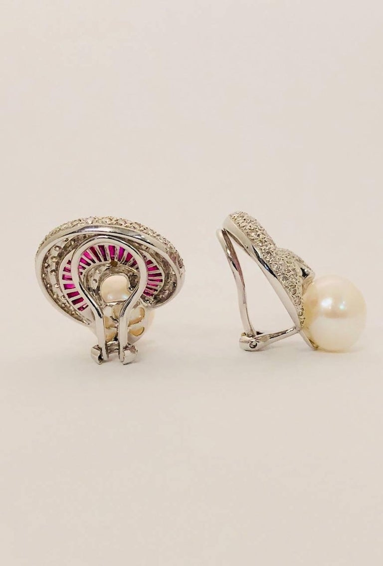 Contemporary Ruby Diamond and Pearl 18 Karat White Gold Earrings For Sale