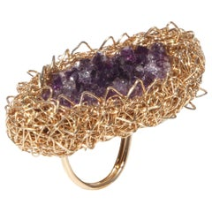 Raw Amethyst 14 Karat Yellow Gold Statement Cocktail Ring by Sheila Westera