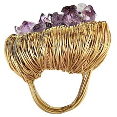 Raw Amethyst Crystal in Yellow Gold Statement Cocktail Ring
