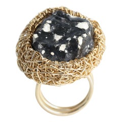 Black & White Obsidian Stone Statement & Cocktail Ring in 14 kt Yellow Gold F