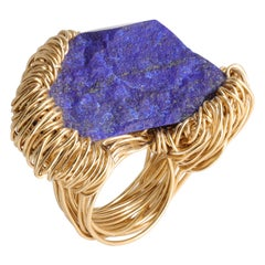 Raw BlueAA Lapis Lazuli in Gold Statement Cocktail Ring by Sheila Westera London