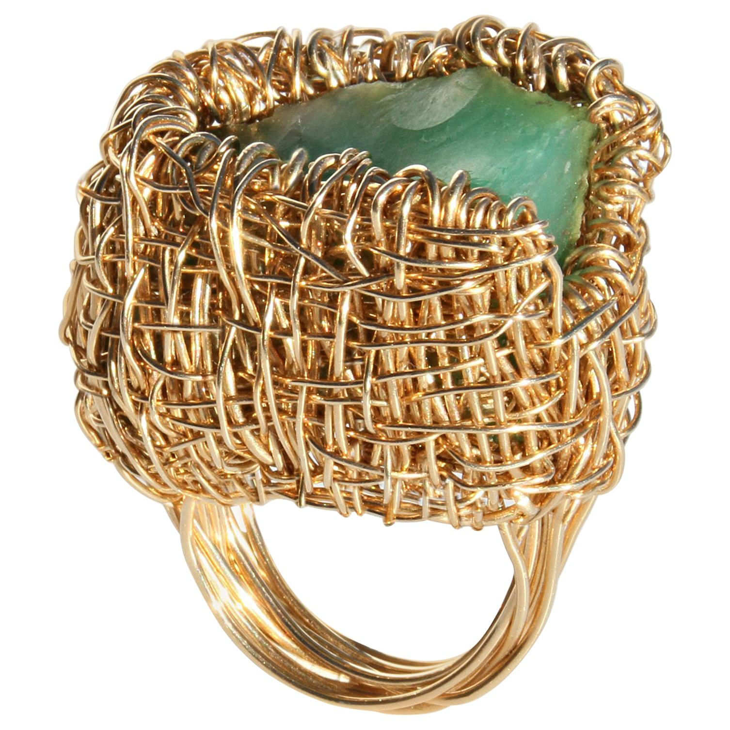 Raw Chrysoprase in Gold Woven Statement Cocktail Ring by Sheila Westera in Stock