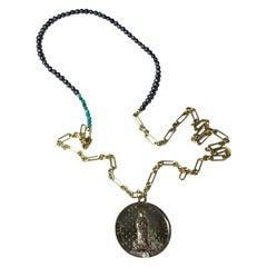 Diamond Black Pearl Medal Coin Pendant Long Chain Necklace Turquoise J Dauphin