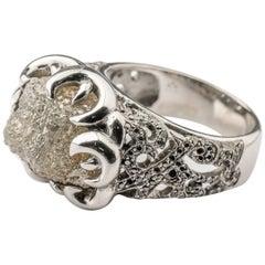 Raw Diamond Ring 16 Carat in Palladium with Black Diamond Accents