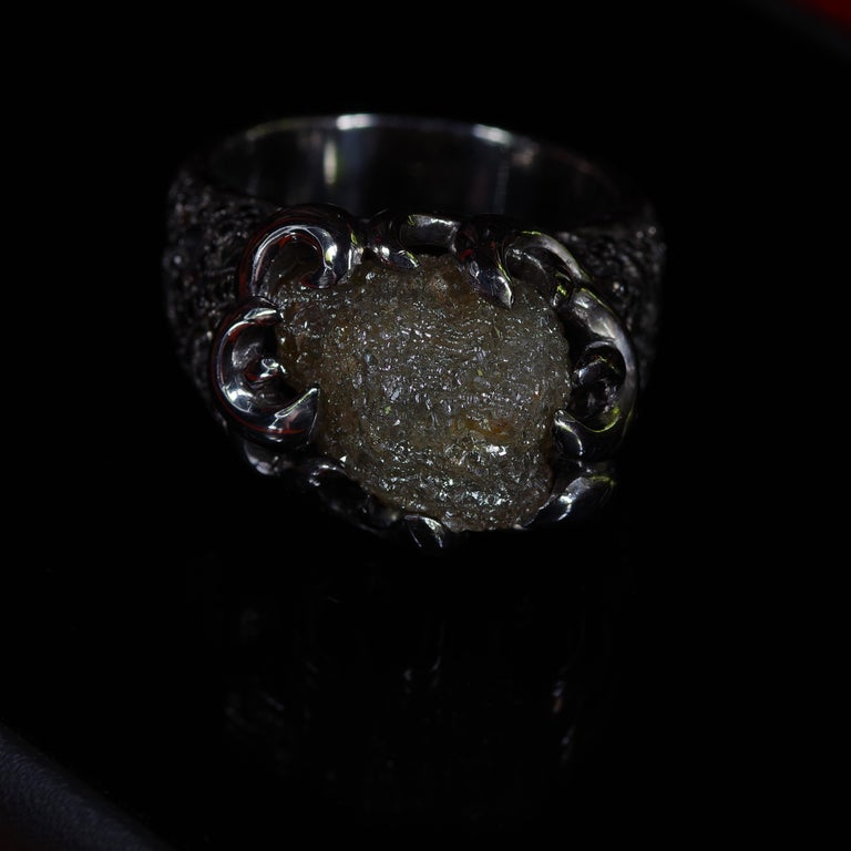 Raw Diamond Ring of 17 Carat from before Raw Diamond Rings Were a Thing For Sale 5