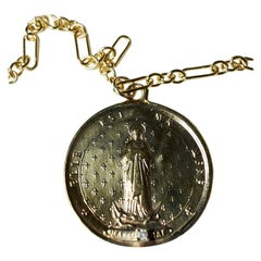 Diamond Medal Coin Necklace Saint Jeanne Le Mat Gold Filled Chain J Dauphin