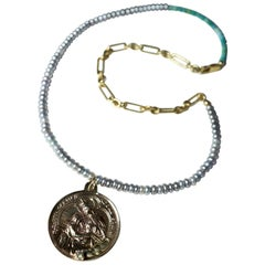 Diamond Virgin Mary Medal Silver Coin Choker Pearl Chain Necklace J Dauphin