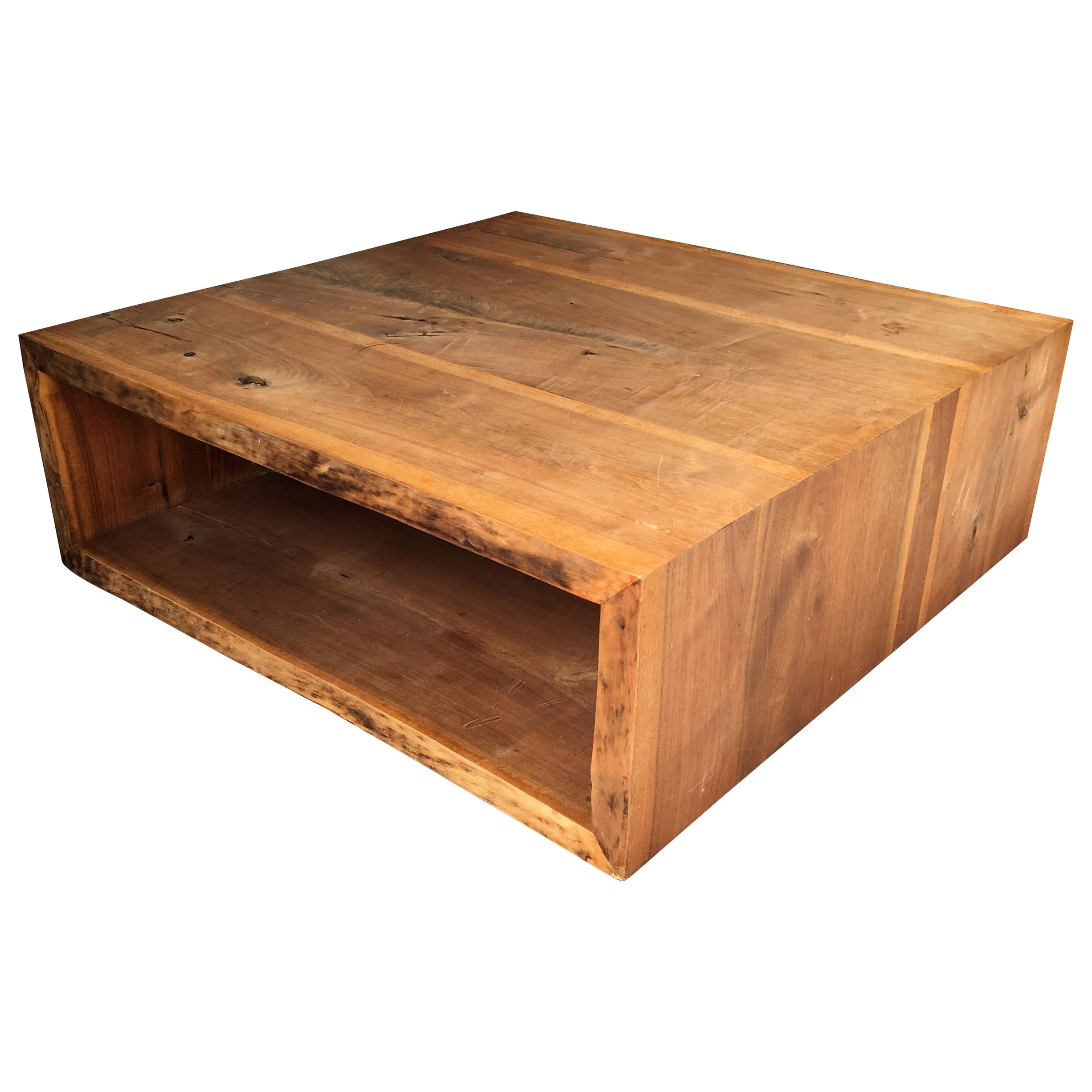 Raw Edge Wood Slab Square Coffee Table For Sale At 1stdibs