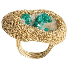 Green Dioptase on Matrix hand formed gold Cocktail Statement Ring by the artist