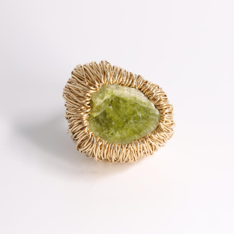 Contemporary Raw Green Kyanite One of a Kind Gold Statement Cocktail Ring by Sheila Westera For Sale