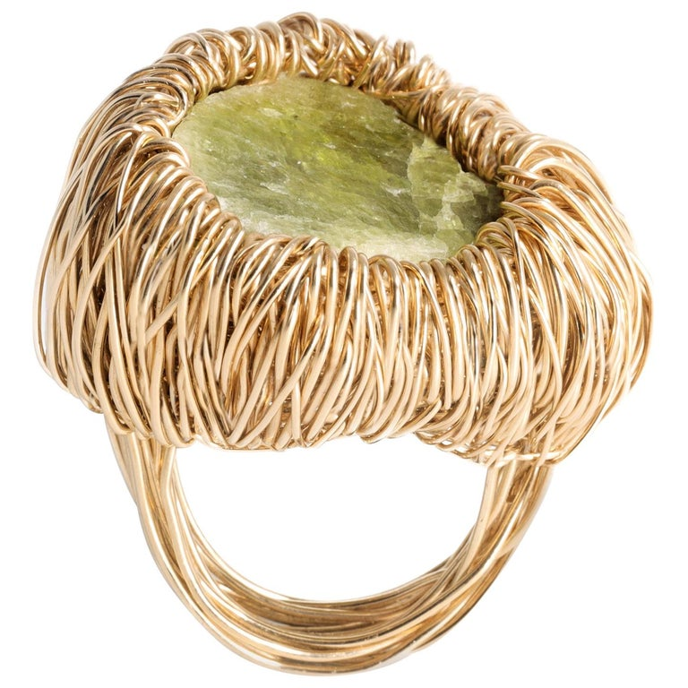 Raw Green Kyanite One of a Kind Gold Statement Cocktail Ring by Sheila Westera For Sale