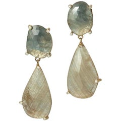 Raw Green Sapphire and Diamond Drop Earrings