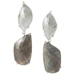 Raw Grey Sapphire and Diamond Drop Earrings