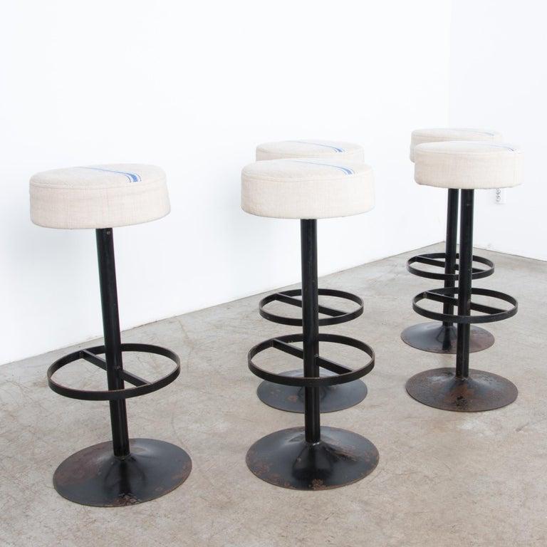Belgian Raw Linen Upholstered Bar Stools, Set of Five