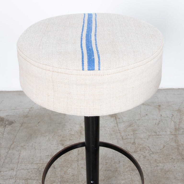 Raw Linen Upholstered Bar Stools, Set of Five In Good Condition In High Point, NC